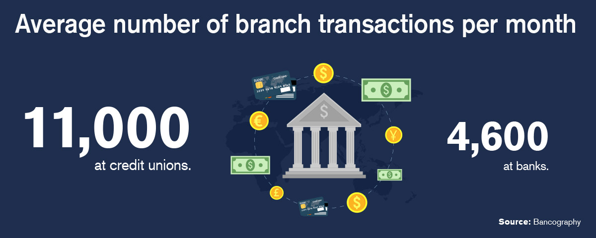 Average number of branch transactions per month