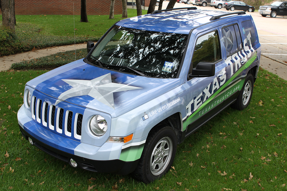 Texas Trust wrapped Jeep